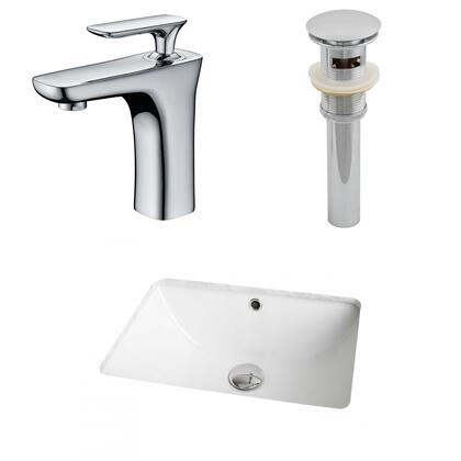 AI-13059 18.25-in. Width x 13.75-in. Diameter CUPC Rectangle Undermount Sink Set In White With Single Hole CUPC Faucet And