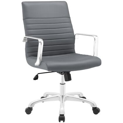 Finesse Collection EEI-1534-GRY Office Chair with 360 Degree Swivel  Mid Backrest  Adjustable Height  Polished Aluminum Frame and Ribbed Vinyl Upholstery in