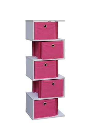 Santa Monica Collection 99422 Zig Zag Storage with 5 Canvas Drawers and Color Coordinated Decorative Plastic Piping in
