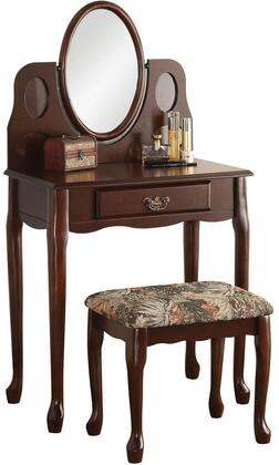 Aldine Collection 90211 28 inch  Vanity Set with Vanity  Stool  Mirror  Felt Lined Drawer  Suede Padded Seat Cushion and Red Oak Veneer Materials in Espresso