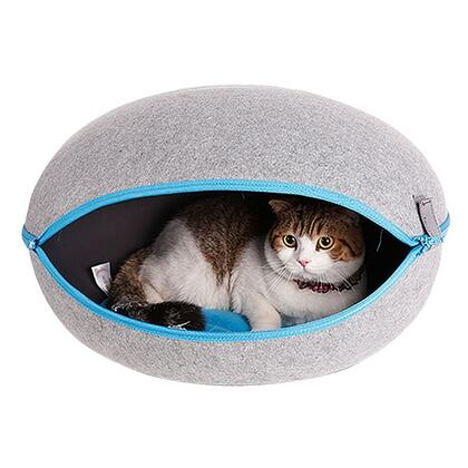 PH1003 Cat Cave Egg Shape Cozy Felted Bed 20 inch  W 20 inch
