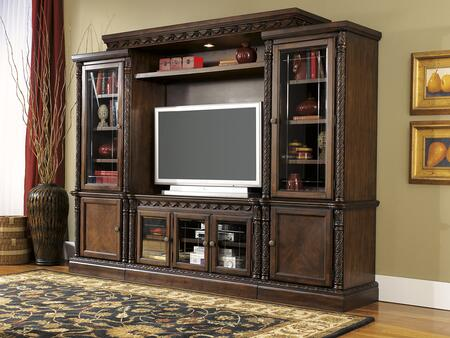 North Shore Collection W553ENTSET 4-Piece Entertainment Center with TV Stand  Left Pier  Right Pier and Lighted Bridge in Dark