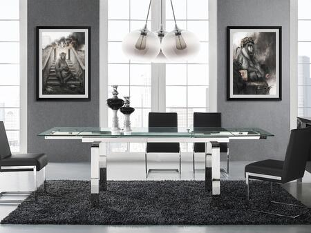 Cloud Collection CBD2048SSFSET 5 PC Dining Room Set with Extendable Stainless Steel Dining Table and 4 Brown Eco-Leather Upholstered Dining