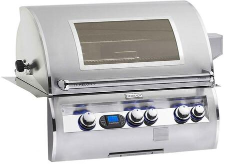 E660I-4E1N-W Echelon Series Built In Natural Gas Grill  660 sq. in. Cooking Area with a Rotisserie Backburner and Cast E Burners and View Window: Stainless