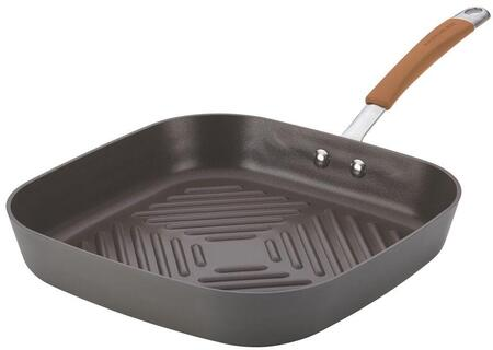 87637 11-Inch Deep Square Grill Pan  Gray with Pumpkin Orange