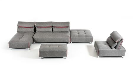 David Ferrari Zip Collection VGFTZIP-GRY 5-Piece Fabric Modular Sectional Sofa with Chaise  Armless Loveseat  Corner  Armless Chair and Ottoman in