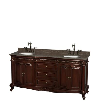 WCJJ23372DCHIBUNOMXX 72 in. Double Bathroom Vanity in Cherry  Imperial Brown Granite Countertop  Undermount Oval Sinks  and No