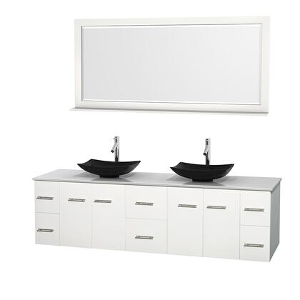 WCVW00980DWHWSGS4M70 80 in. Double Bathroom Vanity in White  White Man-Made Stone Countertop  Arista Black Granite Sinks  and 70 in.