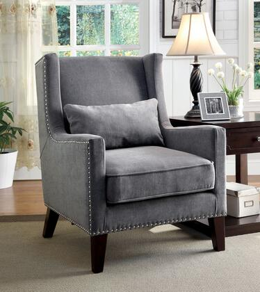 Tomar CM-AC6115GY Accent Chair with Contemporary Style  Wingback Design  Nailhead Trim  Pillows Included in