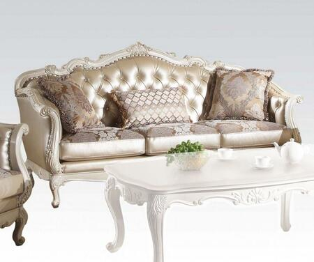 Chantelle Collection 84 inch  Sofa with 3 Toss Pillows  Crystal Like Button Back  Queen Anne Legs  Loose Seat Cushion and Rose Gold PU Leather Upholstery in Pearl