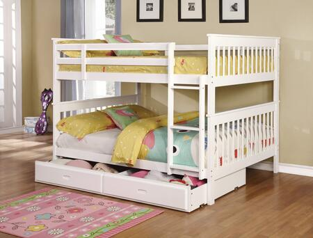 Chapman Collection 460360+400323 Full Size Bunk Bed with Trundle  Separable Beds  Clean Line Design  Slatted Headboards and Footboards  Built-In Ladder  Pine