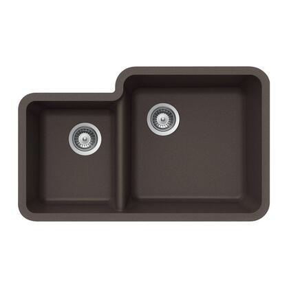 S-175U MOCHA Quartztone Series Granite Undermount 70/30 Double Bowl Kitchen Sink