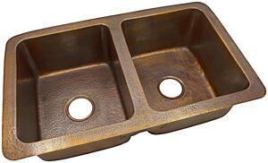 CF164AN Solid Hand Hammered Copper 34 inch  X 21 inch  Large Double Bowl Drop-In / Undermount Sink in Antique Copper