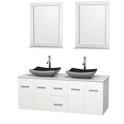 Wcvw00960dwhwsgs1m24 60 In. Double Bathroom Vanity In White  White Man-made Stone Countertop  Altair Black Granite Sinks  And 24 In.