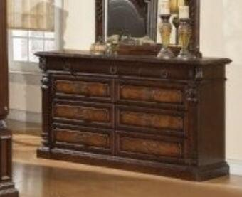 JU2667DR Juliet 9 Drawer Dresser in Two Tone Warm Cherry and Ash Burl