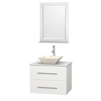 Wcvw00930swhwsd2bm24 30 In. Single Bathroom Vanity In White  White Man-made Stone Countertop  Pyra Bone Porcelain Sink  And 24 In.