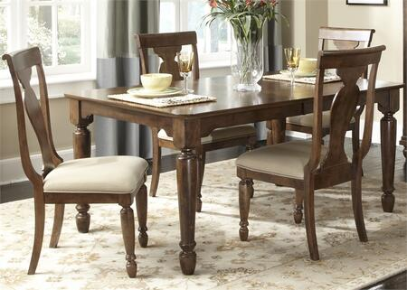 Rustic Tradition Collection 589-DR-5RLS 5-Piece Dining Room Set with Rectangular Dining Table and 4 Side Chairs in Rustic Cherry