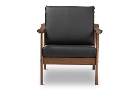 VENZA-BLACK/WALNUT BROWN-CC Baxton Studio Venza Mid-Century Modern Walnut Wood Black Faux Leather Lounge