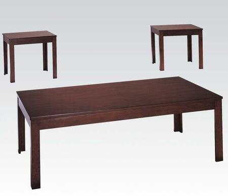 Java Collection 06174 3 PC Living Room Table Set with Rectangular Coffee Table  2 End Tables  Straight Legs and Veneer Materials in Cherry