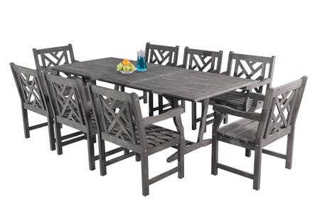 V1294SET16 Renaissance Outdoor 9-Piece Hand-Scraped Wood Patio Dining Set With Extension