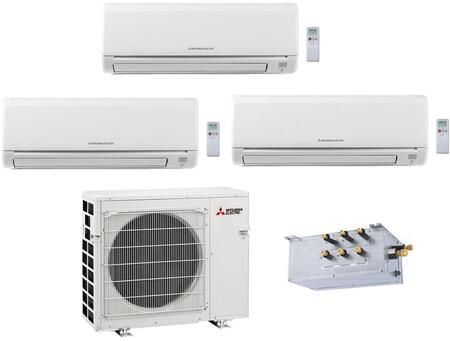 Triple Zone Mini Split Air Conditioner System with 36000 BTU Cooling Capacity  Three 12K BTU Indoor Units  and Outdoor 864761