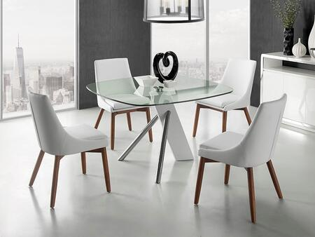 Urban Collection CBF2170CSET 5 PC Dining Room Set with Clear Tempered Glass Top Dining Table and 4 White Eco-Leather Upholstered Dining