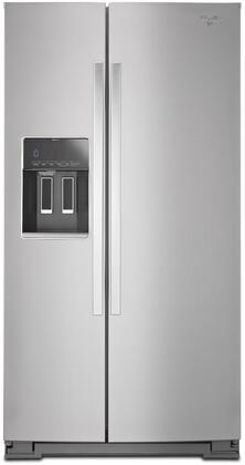 Whirlpool 25.6 Cu. Ft. Side-by-Side Refrigerator with Thru-the-Door Ice and Water Monochromatic Stainless Steel WRS586FIEM