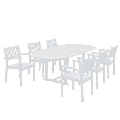 Bradley Collection V1335SET23 7-Piece Outdoor Patio Dining Set with Oval Extension Table and 6 Stacking Chairs in