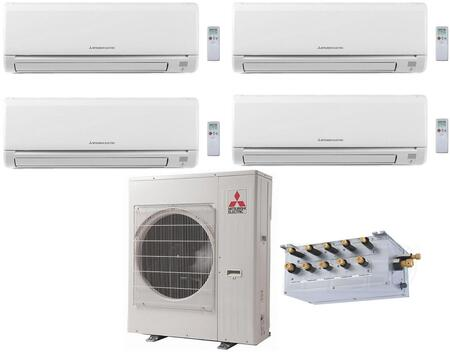 Quad Zone Mini Split Air Conditioner System with 42000 BTU Cooling Capacity  Two (6K) Indoor Units  Two (15K) Indoor Units  PACMKA51BC Branch Box  and One