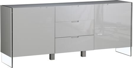 LS-503-LG 79 inch  Sideboard with 3 Drawers  2 Doors  LED Lighting System  Tempered Glass and Glossy Lacquer Finish in Light