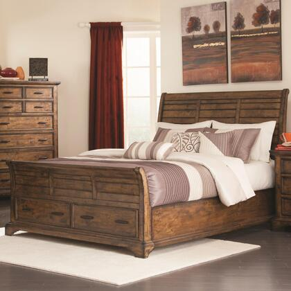 Elk Grove Collection 203891q Queen Size Sleigh Bed With 2 Drawers  Metal Hardware  Rough Sawn Planks And Solid Wood Construction In Vintage Bourbon