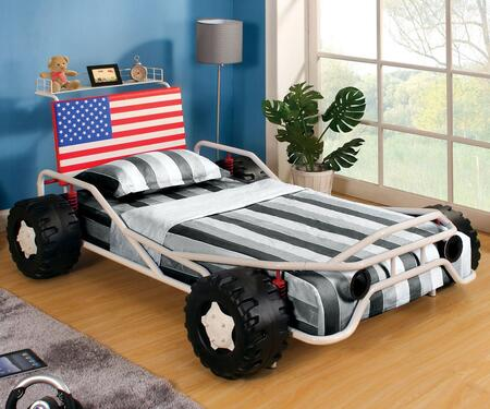 Freedom Racer Collection CM7765-BED Twin Size Bed with Race Car Design  Headboard Shelf  USA Flag Leatherette Headboard and Metal Construction in White