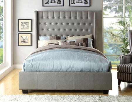 Mira Collection CM7055EK-BED Eastern King Size Platform Bed with Button Tufted Design  Wingback Headboard  Solid Wood Construction and Leatherette Upholstery