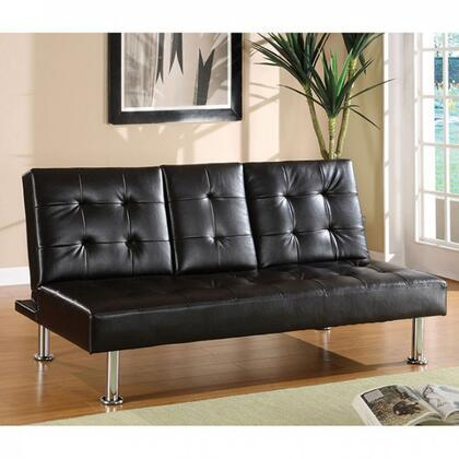 "Orinda Collection CM2666-CA 68"" Futon Sofa with Flip-Down Table  Tufted Detailing  Chrome Legs and Leatherette in"