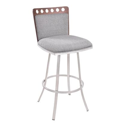 LCCOBAGRF26 Coco 26 inch  Counter Height Swivel Barstool in Brushed Stainless Steel finish with Grey Fabric and Walnut