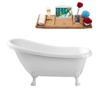 N480WH 61 inch  Soaking Clawfoot Tub with Internal Drain  Chrome Color Drain Assembly  131 Gallons Water Capacity  and Acrylic/Fiberglass Construction  in Glossy