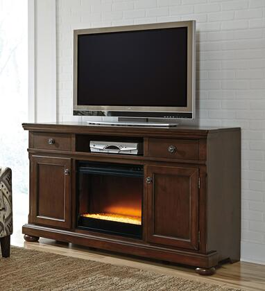 Porter Collection W697-132F02 2-Piece Set with TV Stand and W100-02 Fireplace Insert in Rustic