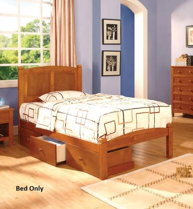 Cara Collection CM7903OAK-T-BED Twin Size Platform Bed with Slat Kit Included  Paneled Headboard  Solid Wood and Wood Veneers Construction in Oak