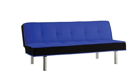 Hailey Collection 57136 66 inch  Adjustable Sofa with Chrome Metal Legs  Converts to Bed  Wooden Frame Construction and Flannel Fabric Upholstery in Blue and Black