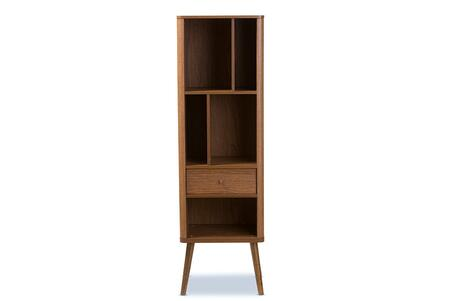 FP-6785-WALNUT Baxton Studio Ellingham Mid-century Retro Modern 1-drawer Sideboard Storage Cabinet Bookcase