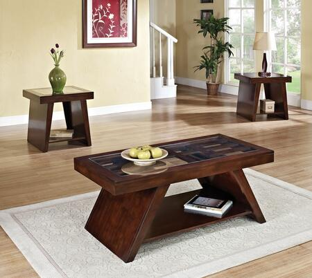 Jelani 80310CE 3 PC Living Room Table Set with Coffee Table + 2 End Tables in Brown Cherry