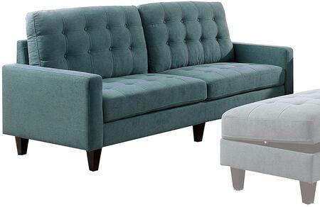 Nate Collection 50245 86 inch  Sofa with Memory Foam Cushions  Track Arms  Pocket Coil Seating  Tapered Legs  Pine Wood Frame and Fabric Upholstery in Teal