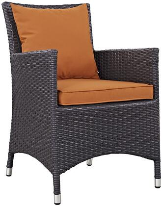 Convene Collection Eei-1913-exp-ora 25.5 Dining Outdoor Patio Armchair With All-weather Fabric Cushion  Synthetic Rattan Weave Material  Aluminum Frame  Uv