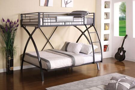 Apollo Collection CM-BK1029 Twin Over Full Bunk Bed with Front Access Ladder  Sturdy Arch Design and Full Metal Construction in Gun Metal and Chrome
