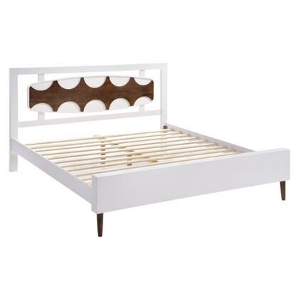 800310 Seattle Collection King Size Bed with Tapered Legs  Wood Veneer  Shape-Designed Headboard and Slats Included  in Walnut &