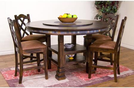 Santa Fe Collection 1225DCDT4C 5-Piece Dining Room Set with Round Dining Table and 4 Chairs in Dark Chocolate