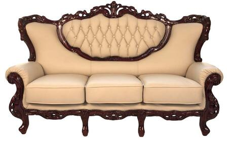 2118IVORYS2SET Traditional 2 Piece Livingroom Set  Sofa and Loveseat in Ivory with Mahogany Wood