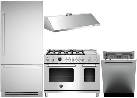 4-Piece Stainless Steel Kitchen Package with REF36PIXR 36 inch  Bottom Freezer Refrigerator  MAS486GDFSXT 48 inch  Freestanding Dual Fuel Range  KU48PRO1X14 48 inch  Wall