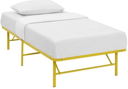 Horizon Collection MOD-5427-YLW Twin Size Platform Bed Frame with Non-Marking Foot Caps  Modern Style and Heavy Duty Stainless Steel Frame Construction in
