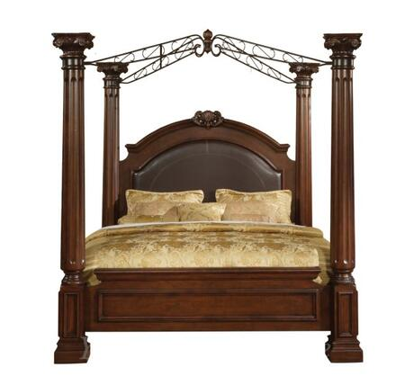 JU2661K Juliet King Canopy Poster Bed with Marble Detail in Two Tone Cherry and Ash Burl